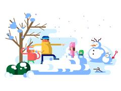 Children playing snowballs Stock Illustration