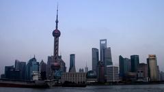 Shanghai Sunset in 4K - Oriental Pearl Tower Stock Footage