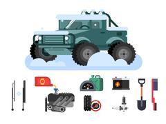 Preparing car to winter Stock Illustration