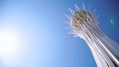 Panoramic view of the Baiterek tower in Kazakhstan, Astana Stock Footage