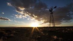 Timelapse of windmill in american desert Stock Footage