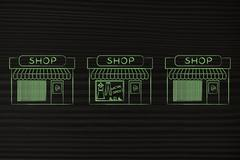 One open shop surrounded by others already closed Stock Illustration