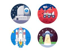 Pixel perfect space icons set Stock Illustration