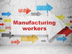 Manufacuring concept: arrow with Manufacturing Workers on grunge wall background Stock Illustration