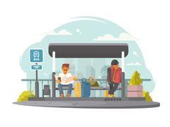 Passengers at bus stop Stock Illustration