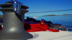 Red rope on the sailing boat's deck Stock Footage