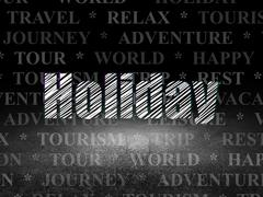Tourism concept: Holiday in grunge dark room Stock Illustration