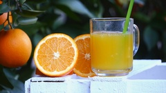 Glass of orange juice becomes empty Stock Footage