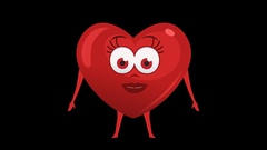 Cartoon Heart with Animated Face. 5th Pose Good. Alpha Channel Stock Footage
