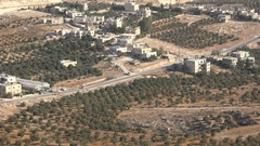 Agriculture in Palestinian Territories, olive tree farms in a small village Stock Footage