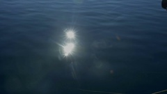 Sun rays are glistening on the surface of the sea Stock Footage