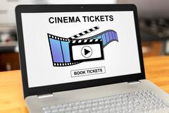 Online cinema tickets booking concept on a laptop Stock Photos