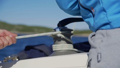 Unwinding the rope  Stock Footage