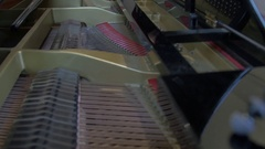 Inside of a Grand Piano Stock Footage