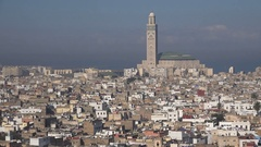 Hassan II mosque and residential area Casablanca, Morocco Stock Footage