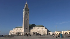 People visit the Hassan II mosque in Casablanca city, Morocco Stock Footage