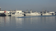 Moroccan navy vessels and war ships in the port of Casablanca Stock Footage