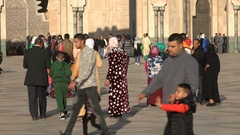 Muslim families visit the modern Hassan II mosque in Casablanca, Morocco Stock Footage