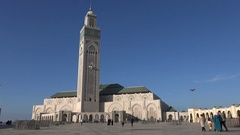 Hassan II mosque in Casablanca, Morocco Stock Footage