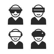 Virtual and Augmented Reality Icon Set. Vector Stock Illustration