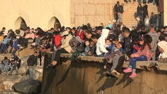 Modern Moroccan families and friends relax at the seaside in Casablanca Stock Footage
