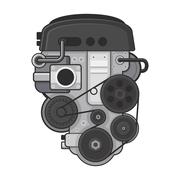Car Engine Concept on White Background. Vector Piirros