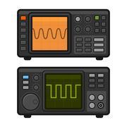 Digital Oscilloscope Set. Vector Stock Illustration