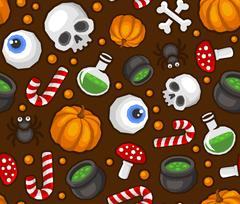 Halloween Seamless Pattern Background with Spider, Skull, Pumpkin, Candy, B.. Stock Illustration