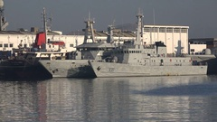 Moroccan navy vessels in the port of Casablanca Stock Footage