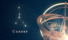 Zodiac Constellation Cancer And Armillary Sphere Over Blue Background Stock Illustration