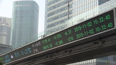 Financial information displayed in business district Shanghai, China Stock Footage