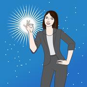 Asian woman showing ok vector illustration Stock Illustration