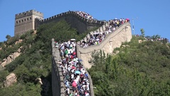 Tourism in China, massive crowds visit the Great Wall Stock Footage