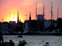 Sunset at Port Celebration Day in Hamburg, Germany in 1080p Stock Footage