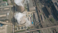 Drone view of massive steel factory Liaoning, rust belt China Stock Footage