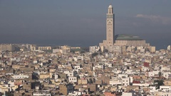 Residential area and Hassan II mosque in Casablanca, Morocco Stock Footage