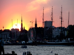 Sunset at the port celebration day in Hamburg, Germany in 4K Stock Footage