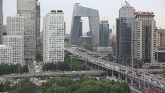 Traffic jam in the financial and business district of Beijing, China Stock Footage