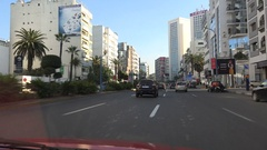 Driving through the downtown Casablanca city, Morocco Stock Footage