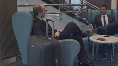 Business Travelers Speaking in the Hotel Stock Footage