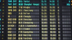 Schedule board of arriving flights Beijing Capital International Airport China Stock Footage