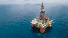 Aerial view of Chinese oil drilling platform in South China Sea Stock Footage