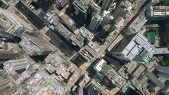 Drone shot residential apartment buildings, commercial property Hong Kong Stock Footage