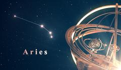 Zodiac Constellation Aries And Armillary Sphere Over Blue Background Stock Illustration