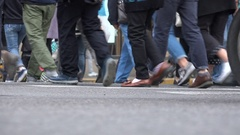 Shoes and legs of people visiting shopping street in Shanghai, China Stock Footage