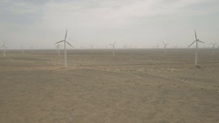 Drone shot of wind turbines, energy power station in China Stock Footage