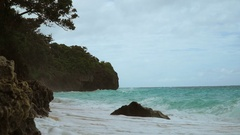 Beautiful beach on tropical island in stormy weather. Boracay island Philippines Stock Footage