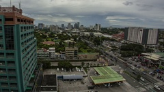 Manila: Skyline with Clouds and Traffic, Day to Night Stock Footage