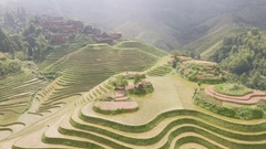 Beautiful aerial view of rice paddy fields landscape in village China Asia Stock Footage