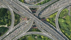 Busy intersection elevated highway, abstract drone shot Shanghai China Asia Stock Footage